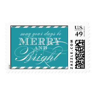 MERRY AND BRIGHT POSTAGE | TURQUOISE STRIPES