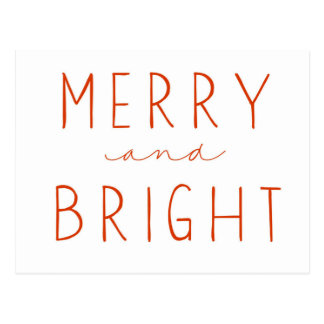 Merry and Bright   Postcard   Red