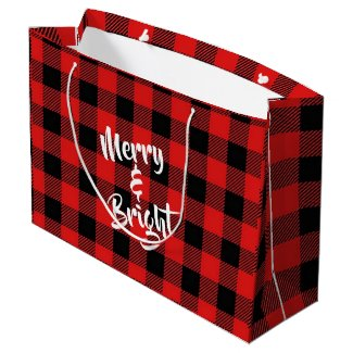 Merry and Bright Red and Black Plaid Gift Bag