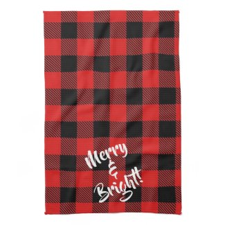 Merry and Bright Red and Black Plaid Kitchen Towel