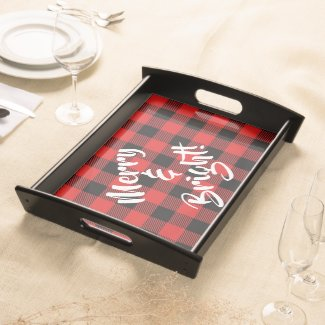 Merry and Bright Red and Black Plaid Serving Tray
