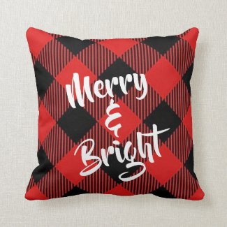 Merry and Bright Red and Black Plaid Throw Pillow