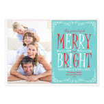 Merry and Bright (Red & Blue) Holiday Photo Card Announcement