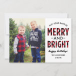 "Merry and Bright | Red Buffalo Plaid Photo Holiday Card<br><div class=""desc"">Modern ""Merry and Bright"" photo card includes a large photo space and black text that can be personalized. Features a rustic red and black buffalo plaid / check pattern on the front and back sides of the card. Photo credit: Two Fish Photography www.twofishphoto.com</div>"