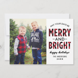 Merry and Bright | Red Buffalo Plaid Photo Holiday Card
