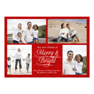 Merry and Bright, Red Damask Custom Invite