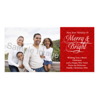 Merry and Bright, Red Damask Photo Card