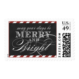 MERRY AND BRIGHT, RED STRIPES, CHALKBOARD STAMP