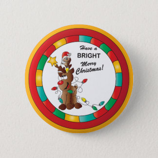Merry and Bright Reindeer and Christmas Mouse Button
