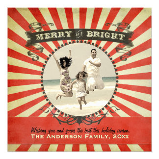Merry and Bright Retro Photo Holiday Card - Red