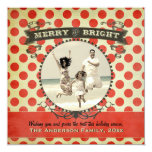 """Merry and Bright Retro Red Dot Photo Holiday Card 5.25"""" Square Invitation Card"""