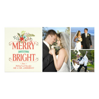 Merry and Bright Rustic Floral Photo Collage Card