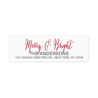 Merry and Bright Script Return Address Label