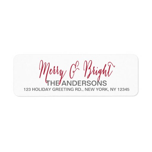 Merry and Bright Script Return Address Label