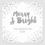 """Merry and Bright silver glitter Christmas Stickers<br><div class=""""desc"""">Merry and Bright silver glitter modern holiday stickers</div>"""