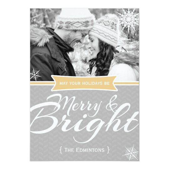 Merry and Bright Snowflake Christmas Flat Card