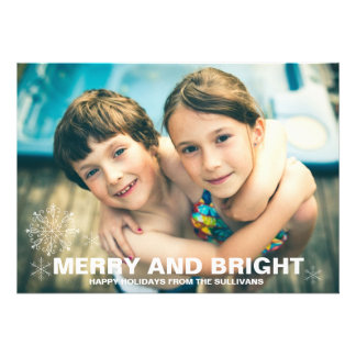 Merry and Bright Snowflakes Christmas Photo Card