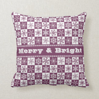Merry and Bright Snowflakes Pretty Purple Throw Pillow