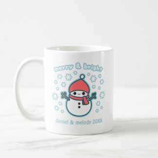 Merry and Bright Snowman Holiday Coffee Mug