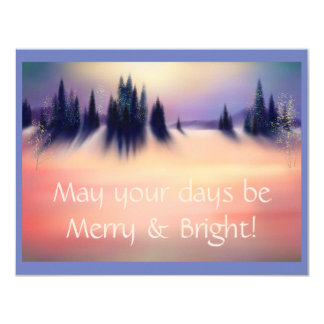 Merry and Bright Snowy Winter Landscape Art Card