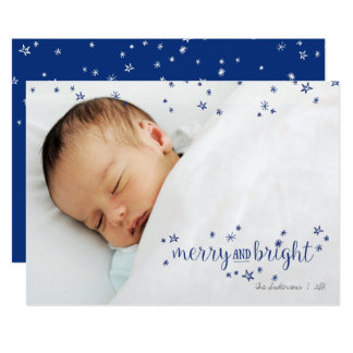 Merry and Bright Star Christmas Holiday Photo Card