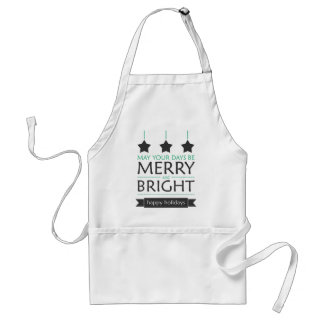 Merry and Bright Stars Green Holiday Adult Apron