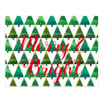 Merry and Bright Stylized Christmas Tree Pattern Postcard