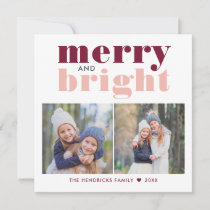 Merry and Bright | Two Photo Merlot and Blush Holiday Card