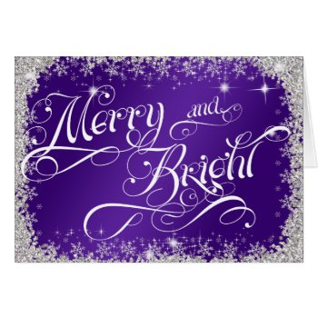 Merry and Bright Typography Purple PERSONALIZE Card