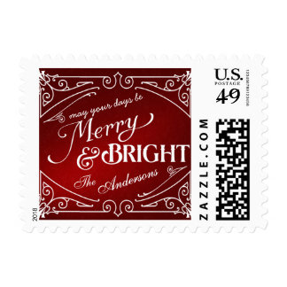 Merry and Bright Vintage Christmas Holiday Postage