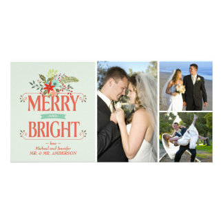 Merry and Bright Vintage Country Floral Collage Card