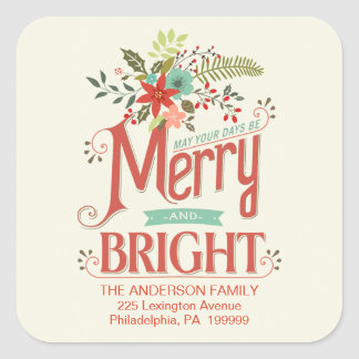 Merry and Bright Vintage Country Floral Holiday Square Stickers
