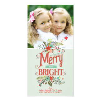 Merry and Bright Vintage Country Floral Photocard Card