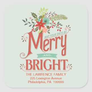 Merry and Bright Vintage Holiday Country Floral Sticker