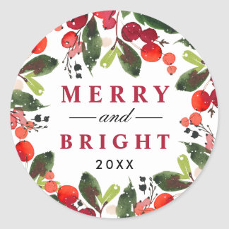 Merry and Bright | Watercolor Christmas Wreath Classic Round Sticker