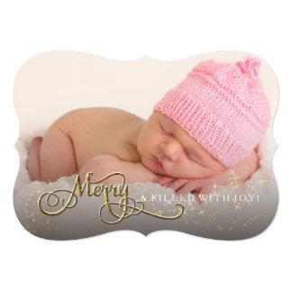 Merry and Joyful Baby Glitter Star Photo Christmas Card