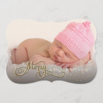 Merry and Joyful Baby Glitter Star Photo Christmas Holiday Card