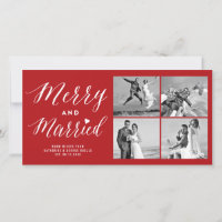 Merry And Married 4 Photo Collage Modern Wedding Holiday Card