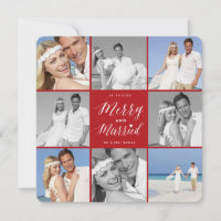 Merry And Married 8 Photo Collage Modern Wedding Holiday Card