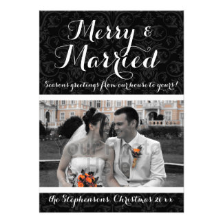 Merry and Married Black White Damask Holiday Photo Invitation