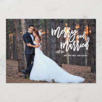 Merry and Married Brush Script Holiday Photo Card