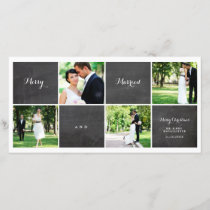 Merry And Married Chalkboard Photo Collage Card