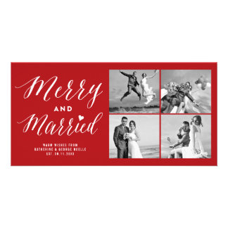 Merry and Married Christmas Photo Collage Card