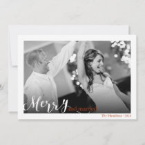 Merry and Married Couple's First Christmas Photo Holiday Card