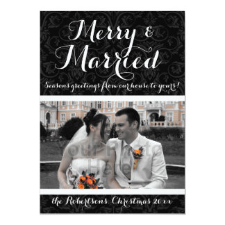 Merry and Married Damask Holiday Photo Card