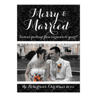 Merry and Married Damask Holiday Photo Cards