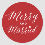 Merry and Married First Christmas Holiday Sticker