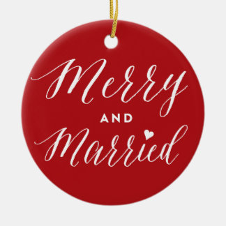 Merry and Married First Christmas Photo Ornament