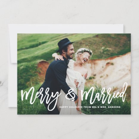 Merry and Married Hand Lettered Holiday Photo Card