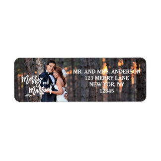 Merry and Married Hand Script | Holiday Photo Label